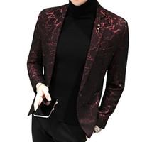 erkekler şık blazerler toptan satış-Erkek Baskılı Iş Rahat Blazer Ince Yeni Rüzgar Kırmızı Mavi Siyah 5XL Erkekler Için Zarif Düğün Parti Şık Blazers Ceket