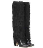 botas martin borgoña al por mayor-Diseñador de lujo sexy tacones altos zapatos de invierno negro borgoña punta puntiaguda estilete sobre la rodilla bota remaches metálicos tachonada botas sobre