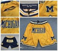 Wholesale michigan basketball jerseys resale online - 2020 Michigan Jersey JUST DON Man Hip Hop Motion Wind Basketball Shorts Pocket Stripe Network Lining Split Joint Wolverines Sports Jersey