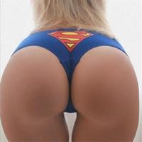 kısa desen toptan satış-Kadın Superman Desen Pamuk Seksi Tanga Yaz Nefes Baskılı Kişilik Külot Kadın Düşük Bel Elastik Rahat Lingeries