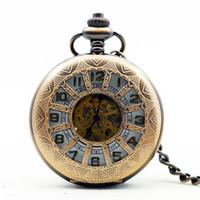número de diseño de flores al por mayor-Elegante Retro Marco de bronce rojo con flor Número romano Dial de diseño Mecánico Reloj de bolsillo con cadena