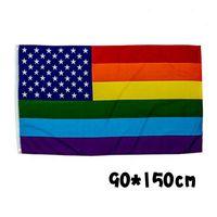 drapeaux colorés achat en gros de-90 * 150 cm américain drapeau arc en ciel créatif coloré fête jardin décoration drapeaux résistant à l'usure mode bannière drapeau parti accessoires FFA2255