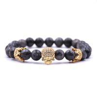 Wholesale natural stone fashion jewellery resale online - 2018 New Arrive Unisex Strand Bracelets Small Crown Zircon Bracelet Fashion Natural Stone Skull Bracelets Jewellery Accessories