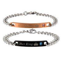 kings link gold chain 2021 - Stainless Steel Couple Bracelet For Women Men His Queen Her King Lover Charm Bracelet Bangles Beauty Beast Designer Jewelry 1pc