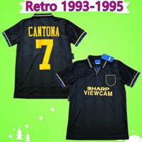 siyah vintage gömlekler toptan satış-Manchester United retro jersey Cantona Hughes Giggs Ince RETRO MANCHESTER 1993 1994 1995 UNITED uzakta siyah FUTBOL GÖMLEK 93 94 95 Vintage futbol forması klasik MAN UTD
