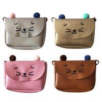 kedi örneği cüzdanı toptan satış-Kızlar Karikatür Sikke çanta çocuk Messenger Çanta Kedi Desen Cüzdan Mini Aksesuarları Anahtar Çanta Ile Omuz Çantası Çapraz vücut