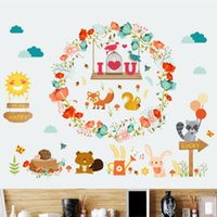 Wholesale wall paper stickers animals resale online - Wall sticker wall sticker squirrel American romantic love wreath living room bedroom glass Windows and doors decorative wall paper