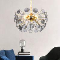 nordic glass chandelier großhandel-Moderne Luxus LED Kronleuchter Licht Golden Glass Kreative Kunst Nordic Einfache Restaurant Amerikanischen Stil Schlafzimmer Kronleuchter