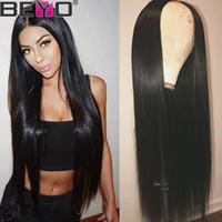 perruque en dentelle droite de 16 pouces achat en gros de-Perruque de cheveux humains pour les femmes noires Remy cheveux 10-26 pouces Beyo