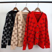 braun gestrickter poncho großhandel-Womem Pullover mit Knöpfen Langarm gestreifte Strickjacke Damen Herbst 2018 neu kommen übergroße Baumwollpullover Luxus