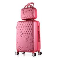 make-up koffer reise großhandel-Hallo Kitty Trolley-Koffer Netter Satz Rollen-Gepäck Frauen Mädchen Make-up-Reise-Gepäck Rollkoffer
