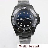 schwarze armbänder der männer großhandel-Sea Blue und Black Dial Edelstahlarmband Automatic Mens Watch Uhren mit unidirektionalen Keramik Top Ring Lünette