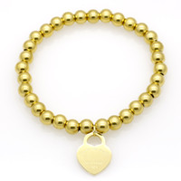 liebesschieber armband großhandel-2019 heißer verkauf mode perlen versilbert doppelherz liebhaber armband armreif für frauen edelstahl liebe armbänder pulseira edlen schmuck