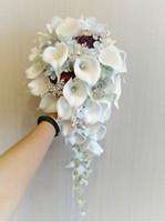 cala broches de la boda del lirio al por mayor-2019 de gama alta de encargo ramo de boda calla lily azul vino rojo rosa azul claro hortensia bricolaje perla de cristal broche ramo nupcial