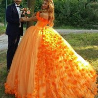 Wholesale flowers deco resale online - 2019 Off Shoulder Hand Made Flowers Tulle Sweet Princess Prom Evening Gowns Gorgeous Orange Quinceanera Open Back Party Ball Gown Dresses