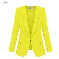 gelb plus größe blazer großhandel-Damen Yellow Blazer Feminino Plus Size 4xL Formal Weiblich Frauen weiße Blaser Jacke Regular Blau Frauen-Klage-Büro-Damen 2019