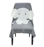 warme decken geben verschiffen frei großhandel-Babydecken Neugeborenen Elefanten Cartoon Top Qualität Decke Gestrickte Dicke Warme Kinder Sommer Weiche Decken Bettwäsche 70 * 110 CM Freies Verschiffen