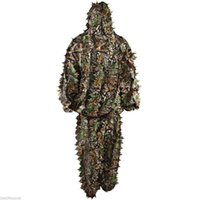 ingrosso nero giubbotti antiproiettile tattico-Suit Camouflage Woodland Camo Ghillie Set 3D Jungle Forest Hunting