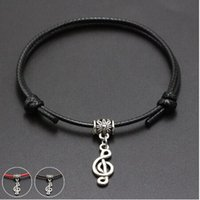 Wholesale music notes resale online - 20pcs Lucky Music Note Charms Bracelet For Women Children Red Leather String Adjustable Bracelet DIY Jewelry