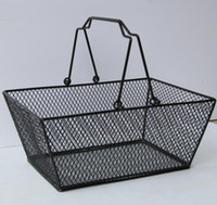 Wholesale fruits basket clothes for sale - Group buy Metal Shopping Basket Cosmetics Storage Baskets With Handle Iron Wire Mesh Shopping Food Fruits storage Basket PC GGA2884