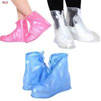 дождь человек обувь оптовых-KLV 1 Pair Reusable Unisex Women Men Waterproof Protector Boots Cover Rain Shoes Anti-Slip