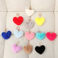меховое кроличье сердце оптовых-Fluffy Pompom Keychain Gifts for Women Soft Heart Shape Pompon Fake Rabbit Doll Key Chain Fur Ball Car Bag Accessories Key Ring