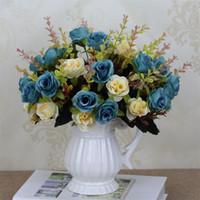 ingrosso fiori artificiali blu rosa-Rose Artificial Flowers Wedding Propose Red Blue Simulazione Romantic Restaurant Silk Fake Flower Fashion Simple Home Decoration 3 2mxD1