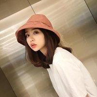 yaz şapkaları kore toptan satış-HT1589 Kore Pamuk Panama Kepçe Hat Kadınlar Casual Katı Düz Balıkçılık Balıkçı Cap Şapka Packable Geniş Brim Plaj Yaz Güneş