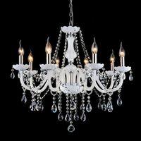 vintage glas rosen blumen groihandel-Europäische Weiß Kristall-Kronleuchter Moderne LED-Kronleuchter für Wohnzimmer lustres de sala de cristal Hochzeitsdekoration Beleuchtung