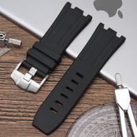 cinturones de herramientas negro rojo al por mayor-naturaleza negro impermeable de caucho de silicona pulsera de reloj del deporte de los hombres pulsera de la venda para Audemars Con 28 mm LOGO