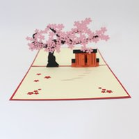 Wholesale 3d house card resale online - Hot selling Laser Cut Wedding Invitations Card D Sakura Tree House Birthday Postcard Valentine s Day Greeting Cards