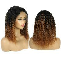 insan derin kıvırcık dantel peruklar toptan satış-13x6 Derin Bölüm Ombre Ile Brezilyalı Dantel Ön İnsan Saç Peruk Bebek Saç Kıvırcık Brezilyalı Remy Tam Dantel peruk