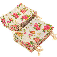 Wholesale flower pouches weddings for sale - Group buy ABUI Pack Rose Drawstring Bags Burlap Flower Pouch Bags Gift Jewelry Pouches for DIY Craft Wedding Party