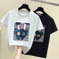 kadınlar polyester pamuk üstleri toptan satış-Bayan T-Shirt Kısa Kollu Yaz Bayanlar yay Siyah Beyaz tişört pamuk o boyun gevşek kadınlar yaz tops tops