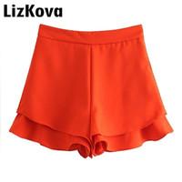 горячие черные юбки оптовых-High Waist Cascading Ruffles Shorts Skirts Womens 2019 Summer Orange Black Hot Shorts Solid Color Skorts