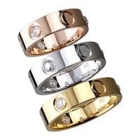 ouro original china jóias venda por atacado-2019 anéis de aço de titânio amantes anéis da faixa tamanho para mulheres e homens marca de jóias de prata rosa anel de amor de ouro nenhuma caixa original