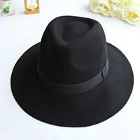 ingrosso nastro jacquard d'epoca-Cappello da cowboy di moda vintage donne ampio nastro a tinta calda lana misto cappello feltro bowler trilby fedora cappello per uomo D19011102