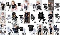 camisetas de dibujos animados para niñas al por mayor-Ropa para bebé INS Set Boy Girl Cartoon Animal Letter Print Mangas cortas Sin mangas T-shirt + Pants 2 UNIDS Set Infant Kids Ropa Set B3133