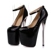 modelo desnuda sexy al por mayor-Zapatos de vestir de diseñador POADISFOO Mujeres Super tacón alto 20 CM Patente Color Desnudo modelo de mujer Sexy T Station 34-43 MJL-6678-12
