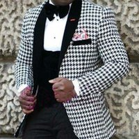 ingrosso vestito bianco nero su misura-Tailored White Black Suit Suit Uomo Slim Fit 3 pezzi Floral Tuxedo Blazer Abiti da sposa Prom Terno Jacket + Pant + Vest