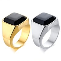 Wholesale black agate band ring resale online - Black Gold Silver Color Fashion Men s Rings Stainless Steel Gemstone Agate Ring Jewelry Gift for Boys Men J207
