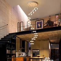 duplex-treppenlampe großhandel-Kronleuchter Moderne minimalistische Duplex Boden Halle Mode Atmosphäre Nordic Wohnzimmer Lampe Villa Wendeltreppe lange hängen