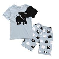 pyjama court achat en gros de-Bébé garçon Cartoon Set enfants vêtements de marque enfant vêtements de bébé occasionnels Cartoon T-shirt éléphant cinq pièces shorts pyjama ensemble 06