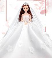 ingrosso barbie girl dresses-Lexin Dodino Barbie Special Wedding Dress Set Doll Gift Box Girl Princess Gonna di coda per bambini