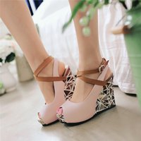 ingrosso pompe delle donne casual-Spirng Fashion Wedge Women customized New fish mouth Brand Rome Casual Fashion Platforms High Heels Gladiator Women Pumps Open Toe Shoes