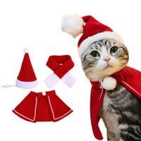 kırmızı şapka giysileri toptan satış-Hayvan Şapka Eşarp Cloak Suit Noel Köpek Kedi Dekorasyon Giyim Kedi Kostüm Cloak Noel Yılbaşı Pet Santa Kırmızı Eşarp Şapka BH0123 TQQ