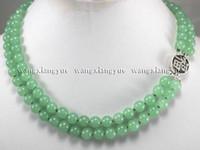 broches de prata redondos venda por atacado-2 linhas 8mm Jade Verde Rodada Beads Gemstones Jóias Colar de Prata Fecho