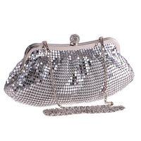 bolso hobo metalizado al por mayor-Día del maquillaje de la bodas de plata metálico de aleación de noche con lentejuelas bolso de las mujeres monedero suave del partido bolso de la señora bolso de la cadena del hombro Embragues