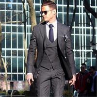 laços formais para homens venda por atacado-Double Breasted Formal Men Suit 3 Peças (Jacket + Pants + Vest + Tie) Negócios Noivo Blazer Mais Recente Casaco Calça Designs Slim Tuxedo 37
