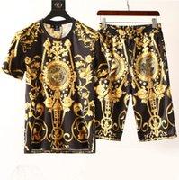 gündelik moda eşofman toptan satış-Moda Erkekler Giyim Setleri Kısa Kollu Baskı Eşofman 2 ADET Erkek Casual Yaz Giyim Tasarımcısı Giyim Seti